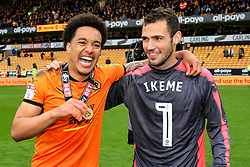 Free to use courtesy of Sky Bet - Helder Costa and Leo Bonatini of Wolverhampton Wanderers celebrate after lifting the Sky Bet Championship 2017/18 league trophy - Mandatory by-line: Matt McNulty/JMP - 28/04/2018 - FOOTBALL - Molineux - Wolverhampton, England - Wolverhampton Wanderers v Sheffield Wednesday - Sky Bet Championship