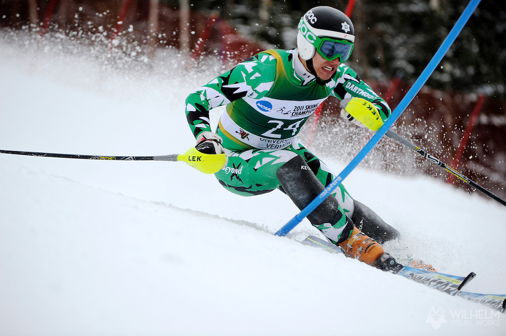 12 MAR 2011: Evan Diamond of Dartmouth University competes in the men's slalom alpine race during the 2011 NCAA Men and Women's Division I Skiing Championship held Stowe Mountain Resort and Trapp Family Lodge in Stowe, VT. ©Brett Wilhelm