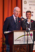 Jack Clark, Convenor of SBCC, announcing the candidates for the 2015 Scottish Border Business Award for Agricultural Supplier of the Year.<br />