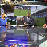 NBC Sports Network presenters Rebecca Lowe, Robbie Earle, and Robbie Mustoe, (right), watching the live matches in the NBC Sports Network studios in Stamford, Connecticut, during Saturday morning live broadcasts of English Premier League games. Stamford,  Connecticut, USA. 21st September 2013. Photo Tim Clayton