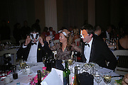 'Badger' White, Juliette tollemache and Richard Thorneycroft. Connaught Square Squirrel Hunt Inaugural Hunt Ball. Banqueting House, Whitehall. 8 September 2005. ONE TIME USE ONLY - DO NOT ARCHIVE  © Copyright Photograph by Dafydd Jones 66 Stockwell Park Rd. London SW9 0DA Tel 020 7733 0108 www.dafjones.com