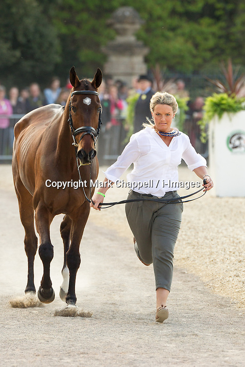 Elizabeth Power (IRL) leads September Bliss for the vet's inspection during the trot up at the 2013 Mitsubishi Motors Badminton Horse Trials. Thursday 02  May  2013.  Badminton, Gloucs, UK..Photo by: Mark Chappell / i-Images