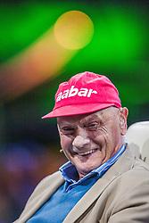 "21.05.2019, AUT, ARCHIV, Niki Lauda am 20. Mai im Alter von 70 Jahren verstorben, im Bild Niki Lauda (AUT, dreimaliger Formel 1 Weltmeister), 14.05.2012, Hangar 7, Salzburg // ARCHIVE, Niki Lauda passed away on 20 May at the age of 70. Niki Lauda (former Formula one Driver and World Champion during the Servus TV show ""Sport and Talk live at the Hangar 7, Salzburg, Austria on 2012/05/14, EXPA Pictures © 2019, PhotoCredit: EXPA/ JFK"