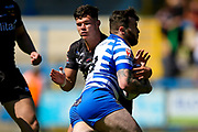 Bradford Bulls centre James Bentley (20) in the tackle  during the Kingstone Press Championship match between Halifax RLFC and Bradford Bulls at the MBi Shay Stadium, Halifax, United Kingdom on 2 July 2017. Photo by Simon Davies.
