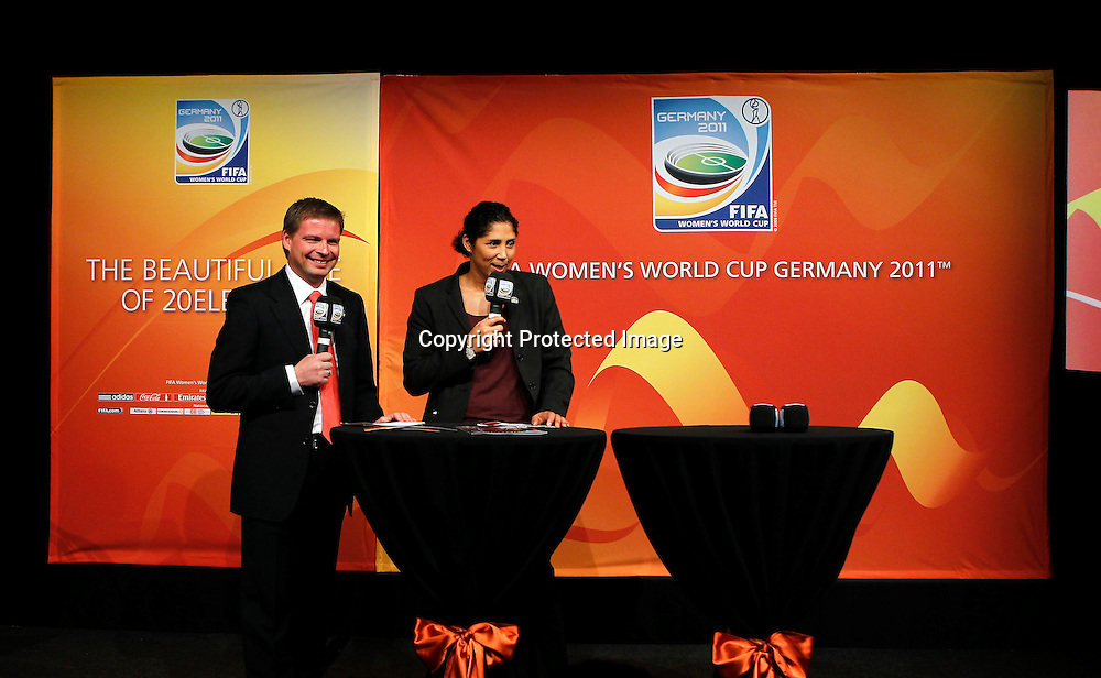 Local Organising Committee spokesman Jens Grittner and President of FIFA Women's World Cup Germany 2011 Organising Committee Steffi Jones. FIFA Women's World Cup 2011 Official Countdown, Crowne Plaza Hotel, Auckland, Friday 10th December 2010. Photo: Shane Wenzlick