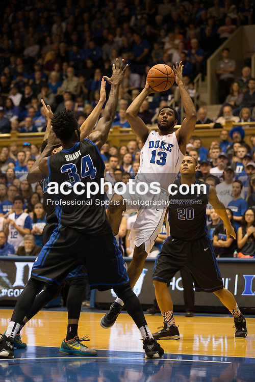 DURHAM, NC - DECEMBER 05: Matt Jones #13 of the Duke Blue Devils plays against the Buffalo Bulls during a 59-82 Duke Blue Devils win on December 05, 2015 at Cameron Indoor Stadium in Durham, North Carolina. (Photo by Peyton Williams/Getty Images) *** Local Caption *** Matt Jones