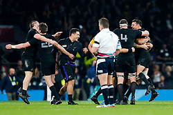 New Zealand Fly-Half Daniel Carter (R) celebrates with his teammates after New Zealand win the match 34-17 to become 2015 World Cup Champions - Mandatory byline: Rogan Thomson/JMP - 07966 386802 - 31/10/2015 - RUGBY UNION - Twickenham Stadium - London, England - New Zealand v Australia - Rugby World Cup 2015 FINAL.