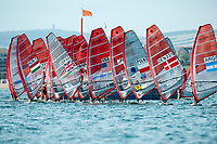 Boarders pull away from the start, RS:X women's windsurfer, Sailing Olympic Test Event, Weymouth