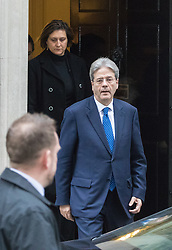 Downing Street, London, February 9th 2017. Italian Prime Minister Paolo Gentiloni leaves 10 Downing Street following talks and a press conference with his British Counterpart Theresa May.