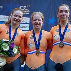 16-10-2019: Wielrennen: EK Baanwielrennen: Apeldoorn <br />Shanne Braspennicx, Kyra Lamberink, Steffie van der Peet pakken brons op de teamsprin