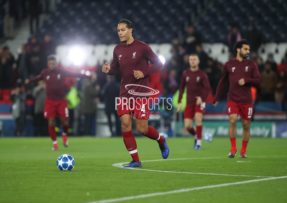 Virgil van Dijk of Liverpool warms up during the Champions League group stage match between Paris Saint-Germain and Liverpool at Parc des Princes, Paris, France on 28 November 2018.