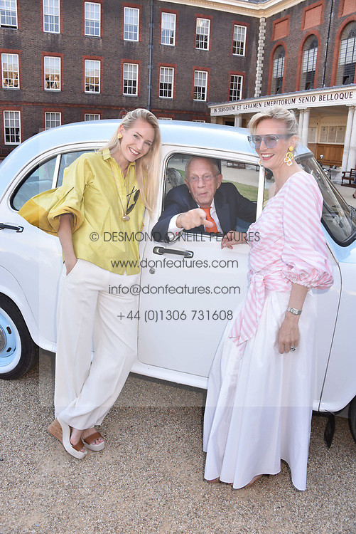 Left to right, Guest, sisters Mary Powys and Ruth Ganesh with Jan Mol at the Concours d'éléphant in aid of Elephant Family held at the Royal Hospital Chelsea, London, England. 28 June 2018.