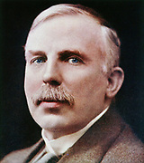 Ernest Rutherford (1871-1937) New Zealand-born physicist. Subatomic physics. Nobel prize for Chemistry 1908. Tinted photograph.