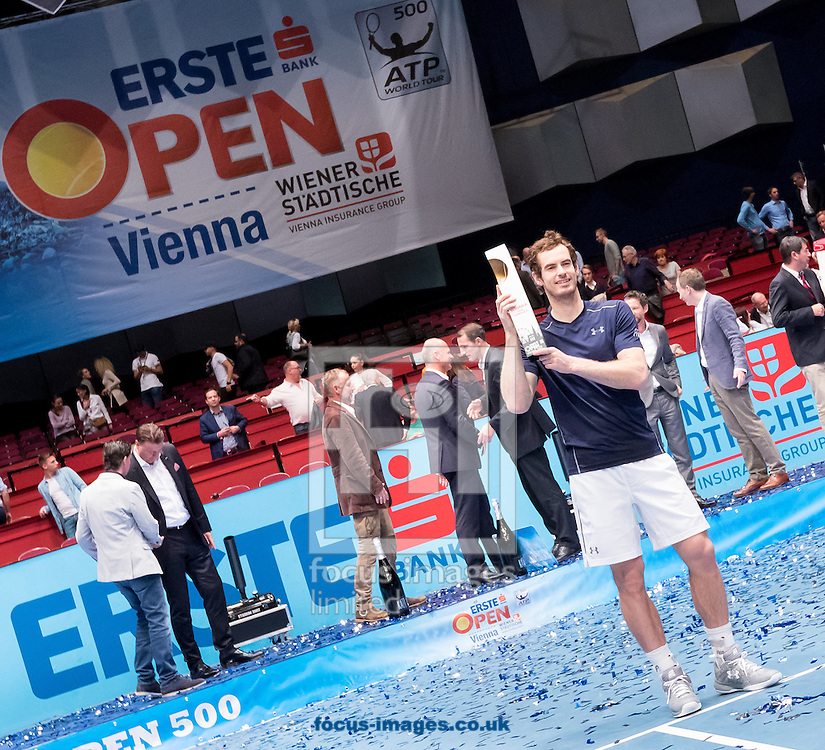 Andy Murray with the trophy during the final of the Erste Bank Open at Wiener Stadthalle, Vienna, Austria.<br /> Picture by EXPA Pictures/Focus Images Ltd 07814482222<br /> 30/10/2016<br /> *** UK &amp; IRELAND ONLY ***<br /> EXPA-PUC-161030-0476.jpg