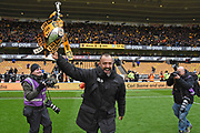 Wolverhampton Wanderers manager Nuno Espirito Santo runs around with the trophy during the EFL Sky Bet Championship match between Wolverhampton Wanderers and Sheffield Wednesday at Molineux, Wolverhampton, England on 29 April 2018. Picture by Alan Franklin.