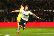 Derby County forward Tom Lawrence (10) scores the winning goal and celebrates 2-1 during the EFL Sky Bet Championship match between Derby County and Sheffield United at the Pride Park, Derby, England on 20 October 2018.