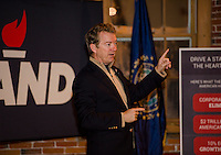 US Senator Rand Paul speaking at the Belknap Mill in Laconia.  Karen Bobotas for the Laconia Daily Sun