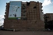 Libya, Misurata: view of a partially destroyed building in Misurata.<br />