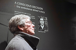 A new exhibition, Conscience Matters, opened at the National War Museum in Edinburgh today. Friday 8 March, exploring the little-known story of British conscientious objectors of the Second World War. The exhibition explores some of the reasons people have refused to take up arms during war and how such refusals are perceived by society. <br /> Pictured: Alison Burnley the 80-year-old daughter of Peter Tennant one of the people whose story features in the exhibition. © Jon Davey/ EEm