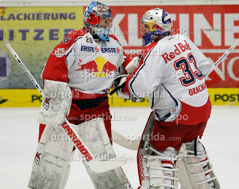11.01.2013, Stadthalle, Villach, AUT, EBEL, EC VSV vs EC Red Bull Salzburg, 40. Runde, im Bild Bernd Brueckler (EC RBS,#1) und Luka Gracnar (EC RBS,#33) // during the Erste Bank Icehockey League 40th Round match between EC VSV vs EC Red Bull Salzburg at the City Hall, Villach, Austria, 2013/01/11, EXPA Pictures © 2013, PhotoCredit: EXPA/ Oskar Hoeher