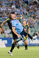 February 8, 2017: Sydney FC defender Jordy BUJIS (5) up for the ball with Wellington Phoenix Roy KRISHNA (21) at Round 19 of the 2017 Hyundai A-League match, between Sydney FC and Wellington Phoenix played at Allianz Stadium in Sydney. Sydney FC won the game 3-1.