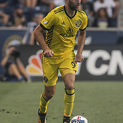 Columbus Crew SC Midfielder JUSTIN MERAM (9) advances the ball in the second half of a Major League Soccer match between the Philadelphia Union and Columbus Crew SC Saturday, July. 26, 2017, at Talen Energy Stadium in Chester, PA.