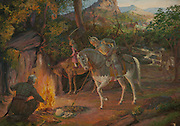 Painting of King Durgadas Rathore and his prince son are seen here during one battle in which they retreated to the jungle, at the Mehrangarh Fort Jodhpur Rajasthan