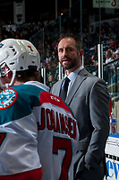KELOWNA, CANADA - APRIL 7: Kelowna Rockets' head coach Jason Smith stands on the bench against the Portland Winterhawks on April 7, 2017 at Prospera Place in Kelowna, British Columbia, Canada.  (Photo by Marissa Baecker/Shoot the Breeze)  *** Local Caption ***