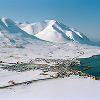 Dalvík / Dalvik, aerial viewing north.
