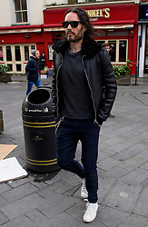 © Licensed to London News Pictures. 02/02/2017. London, UK. Comedian and actor RUSSELL BRAND seen arriving at the studio for Global radio in London. Photo credit: London News Pictures.