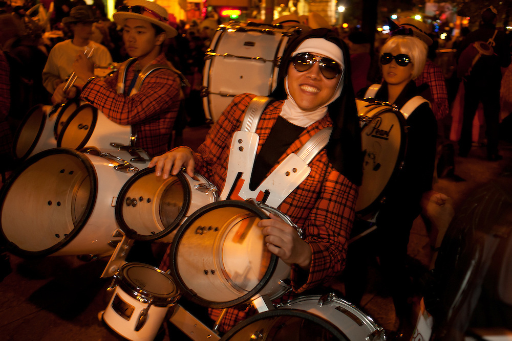 Drummers getting ready for the parade.