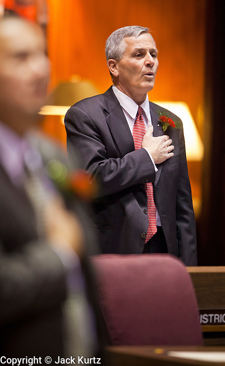 09 JANUARY 2012 - PHOENIX, AZ:   Republican State Sen Jerry Lewis at the state legislature Monday. Gov Brewer delivered her State of the State inside while outside representatives of interest groups picketed and protested.    The Arizona legislature started its 2012 session and Gov. Jan Brewer delivered her State of the State Monday, Jan 9.                   PHOTO BY JACK KURTZ