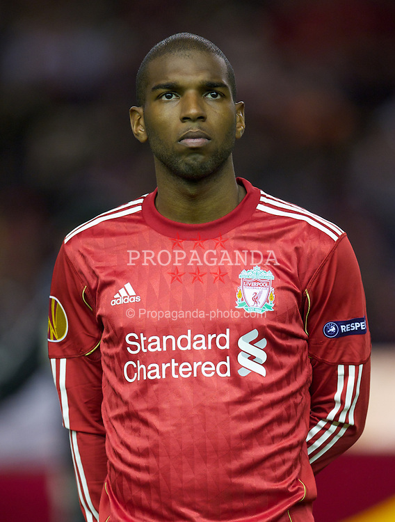 LIVERPOOL, ENGLAND - Thursday, September 16, 2010: Liverpool's Ryan Babel lines-up before the opening UEFA Europa League Group K match against FC Steaua Bucuresti at Anfield. (Photo by David Rawcliffe/Propaganda)