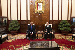 February 27, 2019 - Hanoi, Vietnam - U.S President DONALD TRUMP and Vietnamese President NGUYEN PHU TRONG meet after the Commercial Trade Signing Ceremony in the Mirror Room of the Presidential Palace February 27, 2019 in Hanoi, Vietnam. (Credit Image: © Shealah Craighead/The White House via ZUMA Wire)