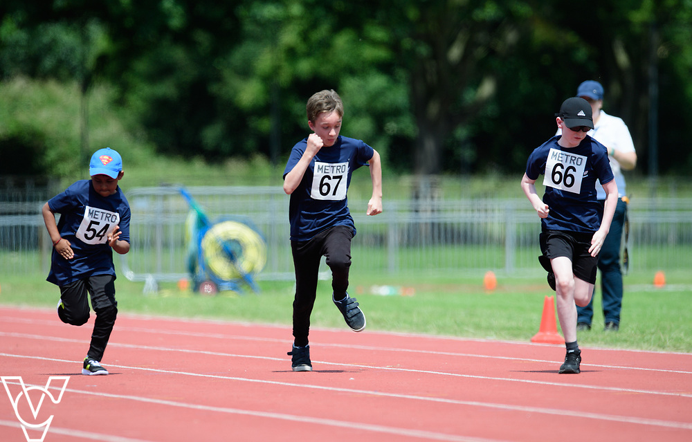 Metro Blind Sport's 2017 Athletics Open held at Mile End Stadium.  60m.  From left, Ragul Sivaseelan, Competitor #67 and Eoin Quigley<br /> <br /> Picture: Chris Vaughan Photography for Metro Blind Sport<br /> Date: June 17, 2017