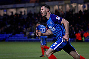Peterborough United defender Andrew Hughes (3) remonstrates with the linesman after his goal is ruled offside during the EFL Sky Bet League 1 match between Peterborough United and Southend United at London Road, Peterborough, England on 3 February 2018. Picture by Nigel Cole.
