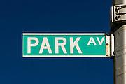 Park Avenue street sign in New York City, Manhattan.
