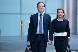 © Licensed to London News Pictures. 29/07/2020. London, UK. Charlie Elphicke arrives at Southwark Crown Court with his wife Natalie Elphicke . The former MP for Dover faces three charges of sexual assault against two women .  Photo credit: George Cracknell Wright/LNP