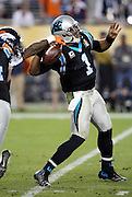 Denver Broncos outside linebacker Von Miller (58) knocks the ball out of the hands of Carolina Panthers quarterback Cam Newton (1) causing a fumble as Newton drops back to pass late in the fourth quarter. The fumble was recovered by the Denver Broncos setting up the game winning score during the NFL Super Bowl 50 football game against the Carolina Panthers on Sunday, Feb. 7, 2016 in Santa Clara, Calif. The Broncos won the game 24-10. (©Paul Anthony Spinelli)