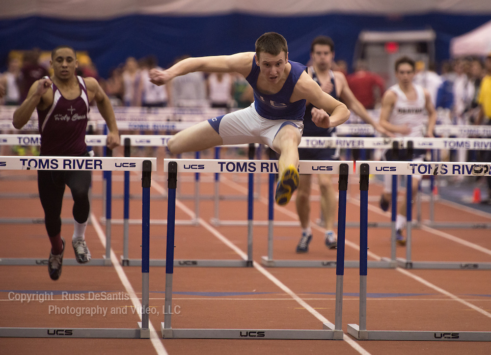 The NJSIAA Non Public A and B track and field Championships were held at The Bennett Center in Toms River. Zach Ghizzone of Union Catholic wins a 55 meter, Non-Public B race. / Russ DeSantis/For The Star Ledger - 2/15/13