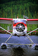 de Havilland Beaver Float plane arriving at Vet Lake. Central Brooks Range north of Bettles, Alaska