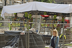 May 18, 2018 - Kiev, Ukraine - Workers setup a fan zone of the UEFA Champions League final in central Kiev, Ukraine, 18 May, 2018. The football UEFA Champions League final match between Real Madrid and Liverpool FC next May 26 at the NSC Olimpiyskiy Stadium. (Credit Image: © Str/NurPhoto via ZUMA Press)
