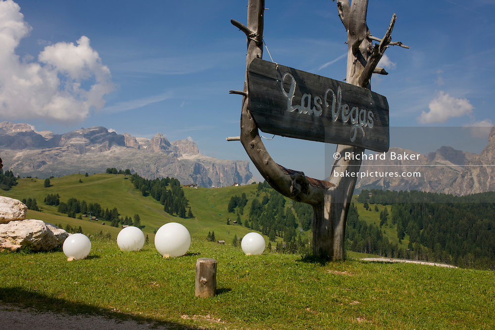 Surreal landscape called Las Vegas in the Pralongià above San Cassiano-St. Kassian in the Dolomites, south Tyrol, northern Italy. In winter, the Pralongià meadows are the heart of Alta Badia's skiing area.