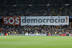 banner SOS democracia, protest for independence of Catalonia during the UEFA Champions League group D match between FC Barcelona and Juventus FC  on September 12, 2017  at the Camp Nou stadium in Barcelona, Spain.