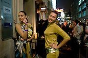 Ina Dimitorova; Marina Amerbekova. OUTSIDE MISS RUSSIA UK. MOVIDA. LONDON. 19 March 2009.