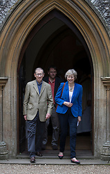 © Licensed to London News Pictures. 17/07/2016. Reading, UK. Prime Minister Theresa May and her husband Philip attend church in her constituency. Mrs May has spent the first few days as Prime Minister assembling her cabinet. Photo credit: Peter Macdiarmid/LNP