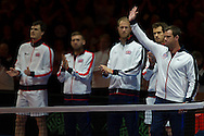 Jamie Murray, Dan Evans, Dominic Inglot, Andy Murray and Leon Smith pictured before the second day of the Davis Cup by BNP Paribas match between Great Britain and Japan at the National Indoor Arena, Birmingham, England.<br /> Picture by Anthony Stanley/Focus Images Ltd 07833 396363<br /> 05/03/2016