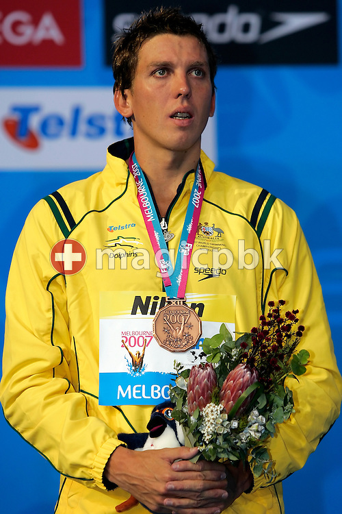 Third  placed Craig Stevens of Australia cries during the award ceremony for the men's 800m freestyle  final in the Susie O'Neill pool at the FINA Swimming World Championships in Melbourne, Australia, Wednesday 28 March 2007. (Photo by Patrick B. Kraemer / MAGICPBK)