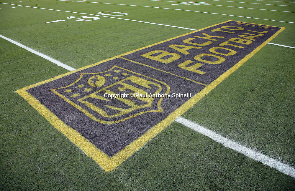 The NFL Back to Football logo is painted on the field for the San Francisco 49ers 2015 NFL week 1 regular season football game against the Minnesota Vikings on Monday, Sept. 14, 2015 in Santa Clara, Calif. The 49ers won the game 20-3. (©Paul Anthony Spinelli)