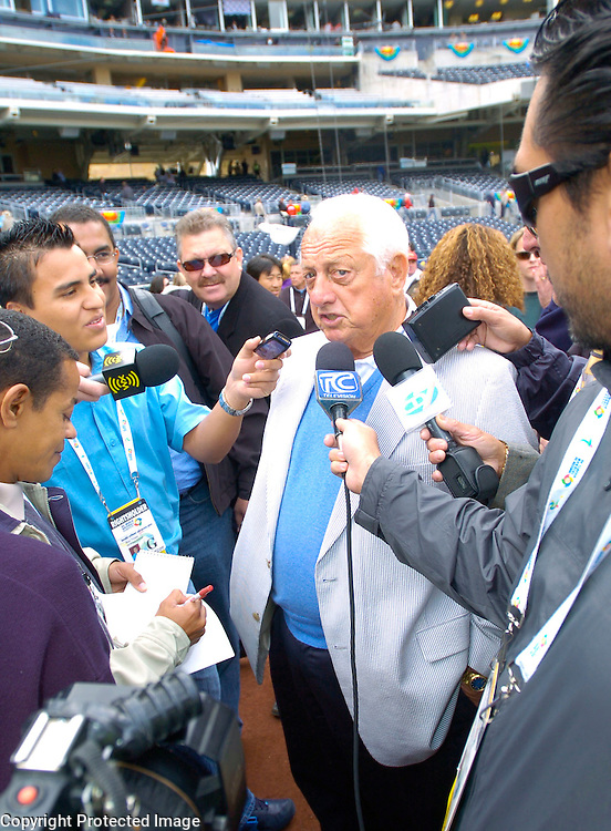 WBC Ambassador Tommy Lasorda speaks the the media before the start of the game matching Team Dominican Republic and Team Cuba in Semi-Final action of the World Baseball Classic at PETCO Park, San Diego, CA.